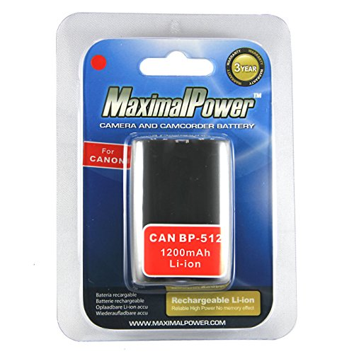 Maximal Power DB CAN BP-512 Replacement Battery for Canon Digital Camera/Camcorder (Gray) ()