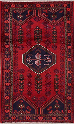 (Hamadan Persian Design Area Wool Rug Handmade Oriental Geometric 4x7 Carpet RED)