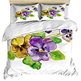 Luxury 3 Piece Bedding Set Queen Size, Colored Drawing Yellow Purple Flower 3PCS Zippered Microfiber Duvet Cover Comforter Cover Set Includes Quilt Cover, Pillow Cases for Kids/Childrens/Teens/Adults