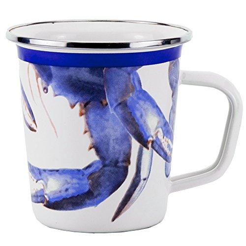 Enamelware - Blue Crab Pattern - 16 Ounce Latte Mug