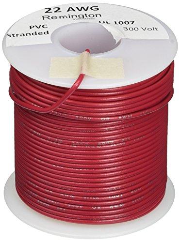 Remington Industries 22UL1007STRRED UL1007 22 AWG Gauge Stranded Hook-Up Wire, 300V, 0.0253