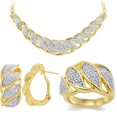 Genuine 0.20 Ctw Natural Diamond Accent Necklace, Earrings and Ring Set In 14K Yellow Gold ()