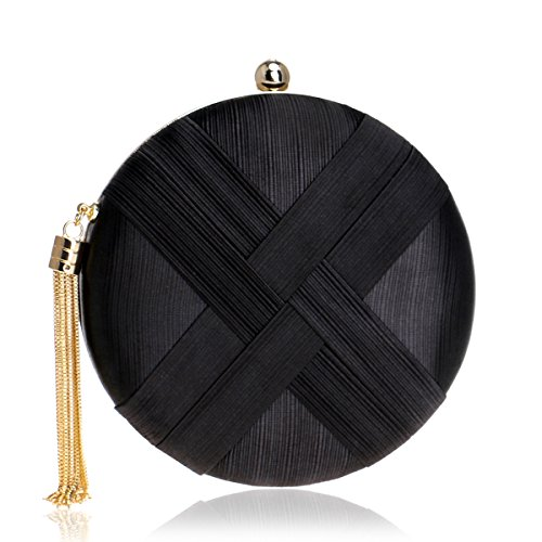 MY Women's Round Satin Evening Clutch Bags Tassel Pendant Silk Purse Evening Handbags for Formal Party Bridal Wedding,Black