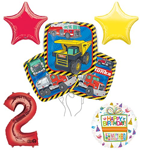 Tonka Truck 2nd Birthday Party Supplies and Balloon Decoration Bouquet Kit -