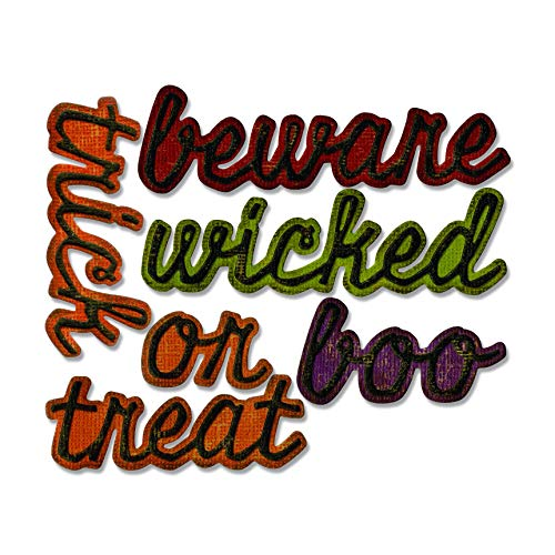 Sizzix 663093 Thinlits Dies Shadow Script Halloween by Tim Holtz, 12-Pack, us:one Size Multicolor