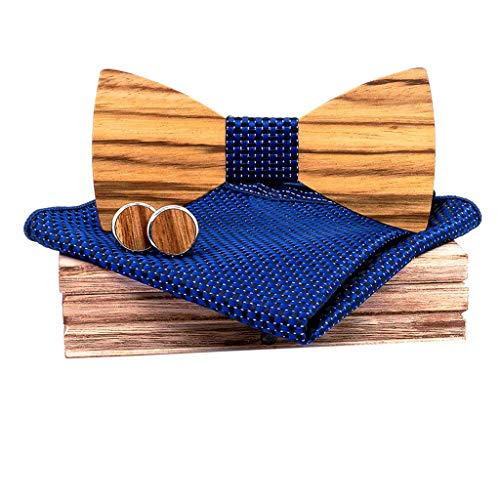 CapsA Wooden Bowtie Mens Bow Tie for Anniversary Birthday Wedding Groomsmen Vintage Style Apparel Novelty Accessory with Matching Pocket Square Men's Cufflinks Lapel Flower Set (Navy)