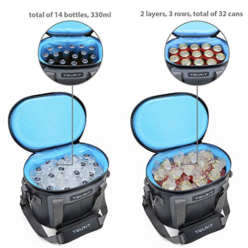 TOURIT Soft Cooler 20 Cans Leak-Proof Soft Pack Cooler Bag Waterproof Insulated Soft Sided Coolers Bag with Cooler for Hiking, Camping, Sports, Picnics, Sea Fishing, Road Beach Trip