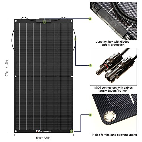 ALLPOWERS-100W-18V-12V-Flexible-Solar-Panel-Charger-with-ETFE-Layer-MC4-connectors-Semi-Bendable-Water-resistant-Solar-Charger-for-RV-Boat-Cabin-Tent-Car-Trailer-Other-Off-Grid-Applications