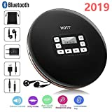 Portable CD Player Bluetooth, Personal Compact Disc Player with Headphones/LCD Display/USB Power Adapter/Aux Cable for Car, Electronic Skip Protection, Anti-Shock Function CD Music Player(Black)