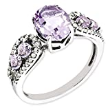 IceCarats 925 Sterling Silver Diamond Oval Pink Quartz Band Ring Size 7.00 Gemstone