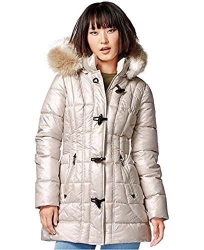 Laundry by Design Faux-Fur-Trim Toggle-Front Puffer Coat (L)