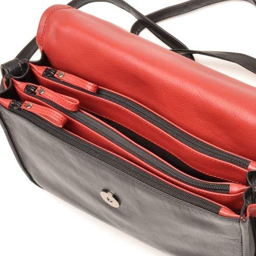 berba Soft 317 Besace à longue bandoulière en noir et rouge
