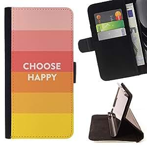 Momo Phone Case / Flip Funda de Cuero Case Cover - Elija Slogan Cita Hippie feliz Positivo - Huawei Ascend P8 (Not for P8 Lite)