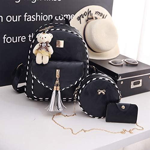 YKDY Borsa Borsa da Viaggio Zaino da Viaggio in Pelle Doppia Busta Spalle Busta Nera (Nero) (Colore : Black) Black