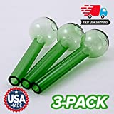 Pyrex Glass Oil Burner by PyrexPlus - 3-Pack - Green Color - 4 Inch Length - 2mm Thick - Fast Free USA Shipping