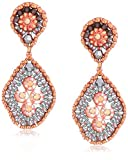 Miguel Ases Quadruple Swarovski Cluster Rounded Rhombus Contrast Post Earrings, Rose Gold and Flint