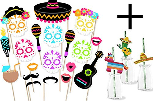 JW Passion 56pc Mexican Fiesta Photo Booth Props, Cinco De Mayo Party Supplies Day of The Dead Masks Selfie Props Dia De Los Muertos - Sugar Skull Fiesta Decorations with Striped Decorative Straws