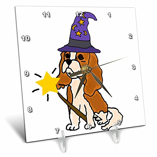 Cute Halloween Desktop Pics (3dRose All Smiles Art Pets - Funny Cute Cavalier King Charles Spaniel Wizard Halloween - 6x6 Desk Clock (dc_263744_1))
