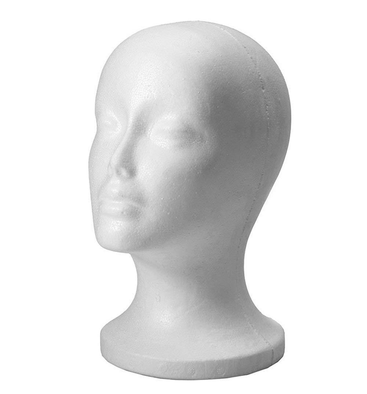 Vendaper Modello di schiuma femminile testa, testa di polistirolo espanso testa manichino modello di testa parrucca fittizia cappello occhiali display stand (bianco, 1 pz)