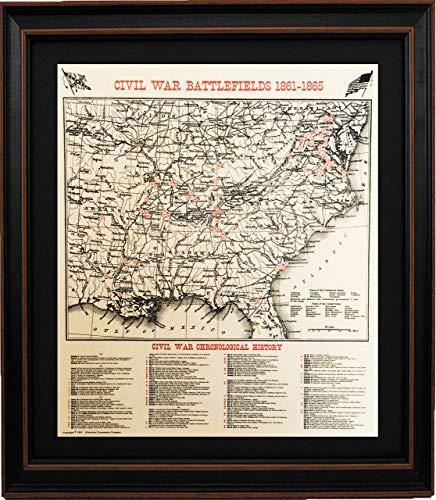 (PatriotGearCompany | Framed Civil War Battlefields Map 1861-1865, Standard Size : Historical Documents; Patriotic or History Buff Gift )