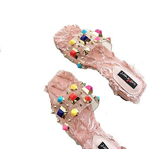 FangYOU1314 de Palabra Transparente Cuadrada peludas Rosado Flipper Alto toed tacón Abierto de Cabeza de Sandalias Peinado Remaches rSqRHr