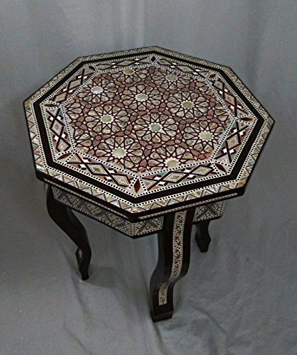 W110 Mother Of Pearl Moroccan Corner Wood Octagonal Table Brown End Coffee (Mother Of Pearl Coffee Table)