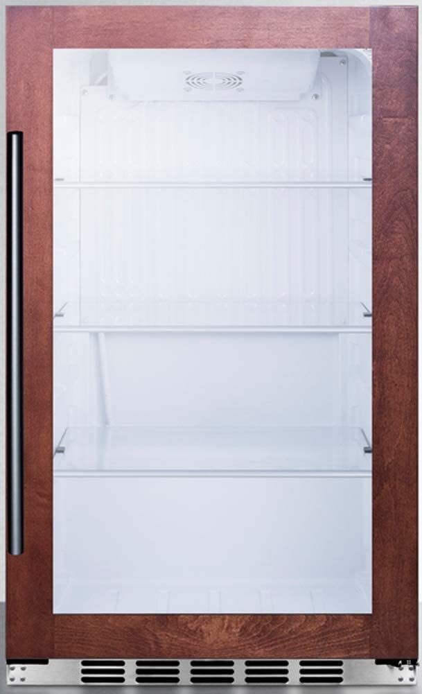 Summit Appliance SPR489OSCSSPNR Commercially Approved Shallow Depth Indoor/Outdoor Beverage Cooler for Built-in or Freestanding Use with Panel-Ready Door Trim, Glass Door and Stainless Steel Cabinet