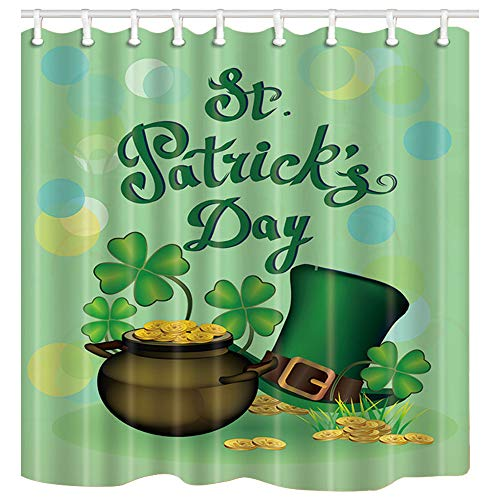 NYMB Spring Decor, Shamrock Leaves and Hat for St. Patricks Day Shower Curtains, Polyester Fabric Waterproof Bath Curtain, 69X70ines, Shower Curtain Hooks Included, Green