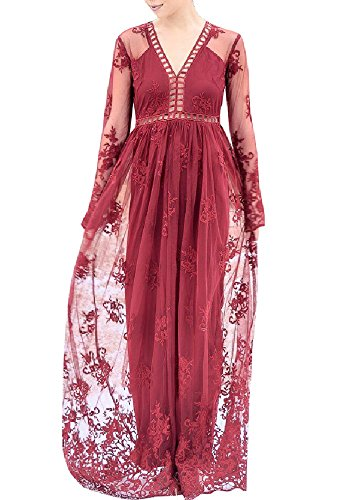 Imily Bela Women's Vintage Chiffon Long Sleeve Wedding Bridesmaid Summer Beach Maxi Long Dress (X-Large, Z-Red) ()