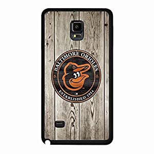 Samsung Galaxy Note 4 Case Character MLB Baltimore Orioles Baseball Team Logo Sports Design Hard Protective Durable Unique Custom Back Accessories Case Cover for Men