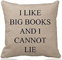 "Cotton Linen Square Decorative Throw Pillow Case Cushion Cover I Like Big Books and I Cannot Lie(background Pattern) 18 ""X18 """