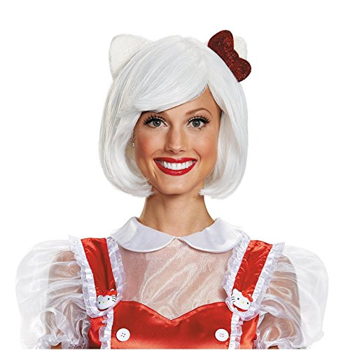Hello Adult Kitty (Disguise Women's Hello Kitty Adult Costume Wig, White, One)