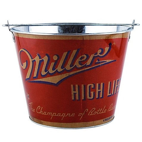 High Life Retro Full Wrap 5-Quart Bucket is made in the traditional metal beer bucket style for outdoor or indoor (5 Quart Metal Ice Bucket)