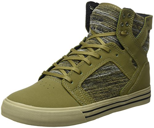 Supra Men's Skytop Olive Multi/Olive/Silver Athletic Shoe (Footwear Multi Suede Brown)