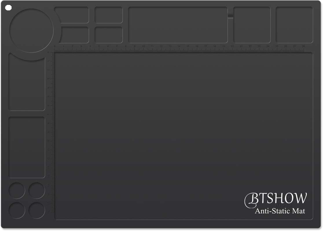 "BTSHOW ESD Mat Anti-Static Soldering Mat Heat Resistant 932°F Desktop Static Dissipative Silicone Mat Dustproof for Electronics/Laptop Repair,13.8"" x 9.8"" (ESD Black)"