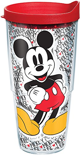 Tervis 1227948 Disney - Mickey Mouse Name Pattern Tumbler with Wrap and Red Lid 24oz, Clear