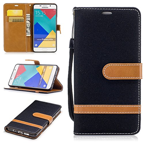 For Galaxy A5 2016 Case [with Free Screen Protector], Metatze Premium Soft PU Leather Cowboy Cloth Wallet Cover Case For Samsung Galaxy A510/A5 (A5 Black Dust)