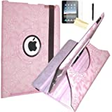 JYtrend (TM) Embossed Flower 360 Degrees Rotating Stand Leather Smart Cover Case for iPad Mini iPad Mini 2 (iPad Mini With Retina Display), With Protector, Cleaning Cloth and Stylus (Pink)