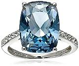 Sterling Silver Swarovski Denim Blue Color and Clear Crystal Ring, Size 7