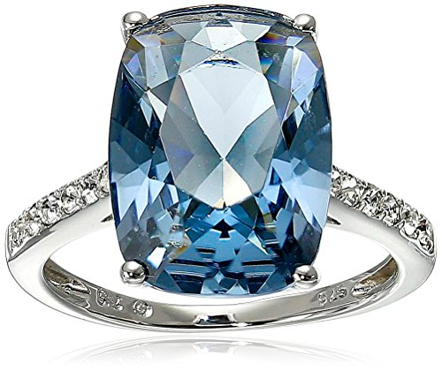 Sterling Silver Swarovski Denim Blue Color and Clear Crystal Ring, Size 7 by Amazon Collection