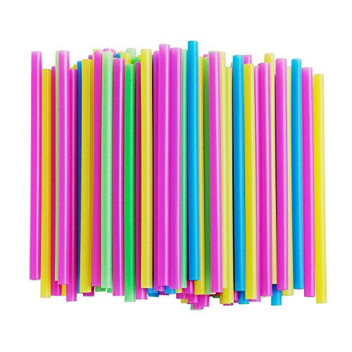 Assorted Bright Colors Jumbo Smoothie Straws, Pack of 100 Pieces (Chip Wide)