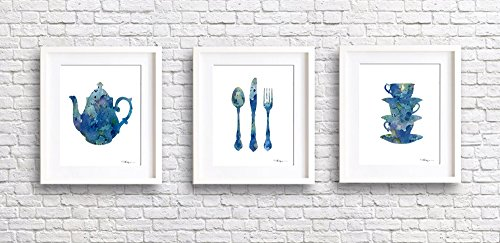 """Set of 3 Kitchen Art """"Teapot, Knife Fork Spoon, Stacked Cups"""" Abstract Waterc..."""