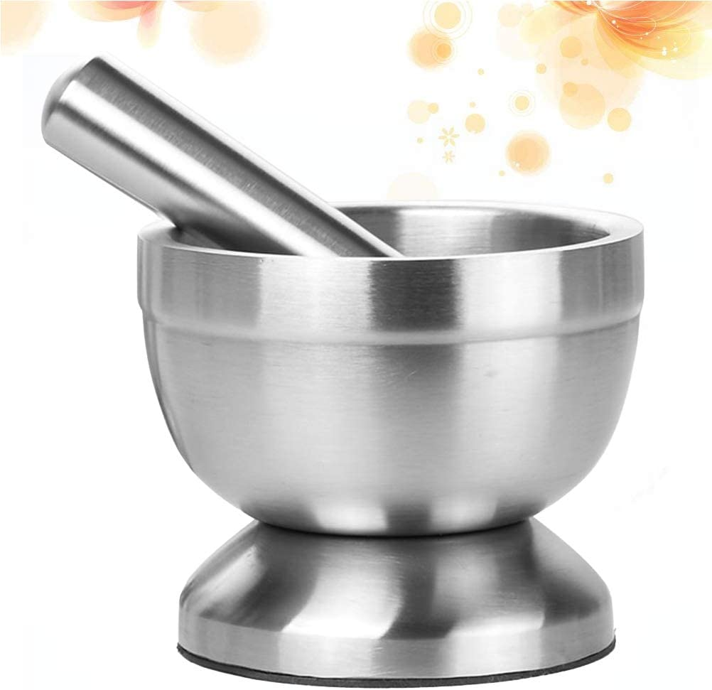 SUPVOX Stainless Steel Mortar and Pestle Set Kitchen Garlic Pugging without Cover Size S