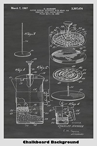 French Press Coffee Maker Patent Print Art Poster: Choose From Multiple Size and Background Color ()
