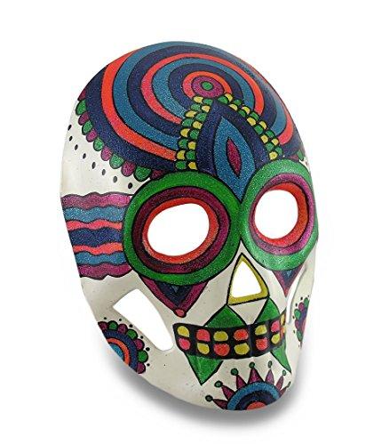 Colorful Sparkling Rainbow Striped DOD Sugar Skull Style Halloween (Muerte Sugar Skull Costume)