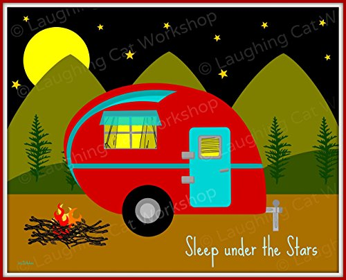 Funny Camping Quotes Sleep Under The Stars Happy Camper Print