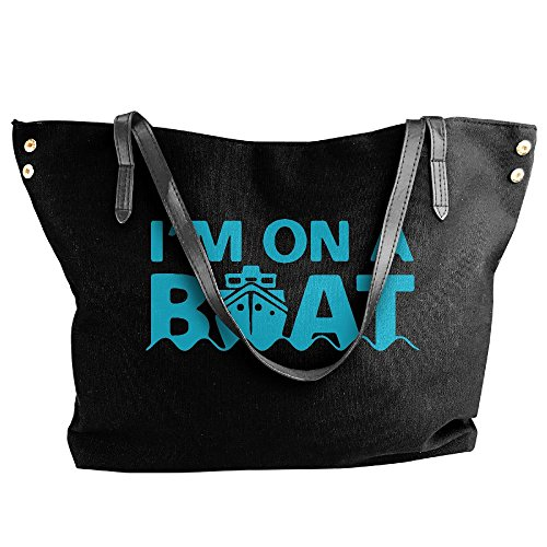 A On I'm Canvas Large Bags Tote Black Shoulder Women's Messenger Boat Handbag SwfUqy0