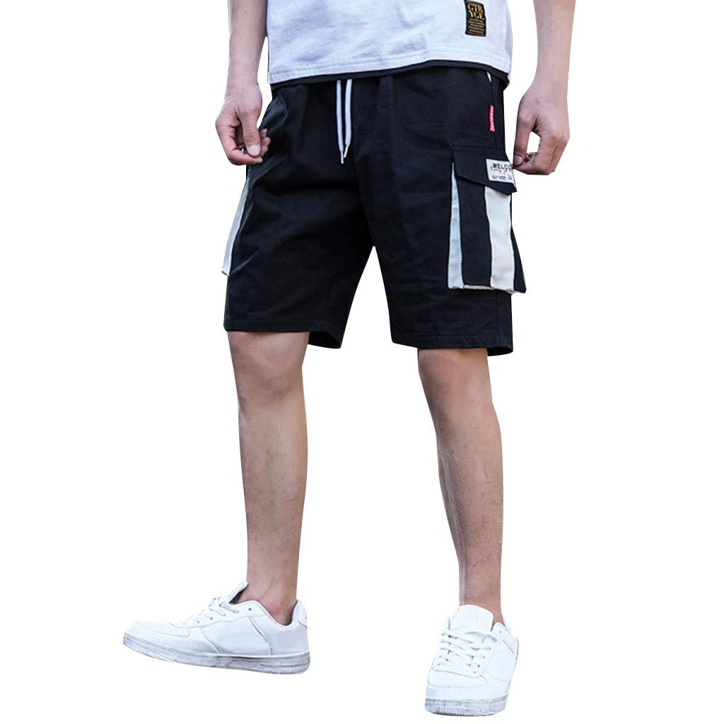 Zainafacai_shorts Men's Cargo Shorts Pant, Casual Stretch Loose Fit Multi-Pocket Sports Fitness Gym Pants Black