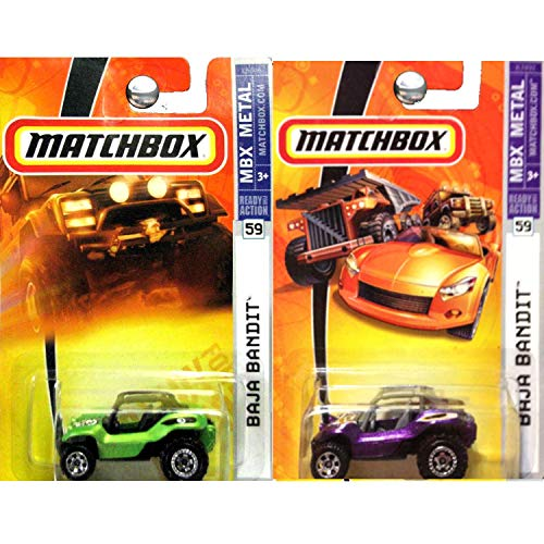 Matchbox MBX Metal Baja Bandit Dune Buggy in Green and Purple Set of 2