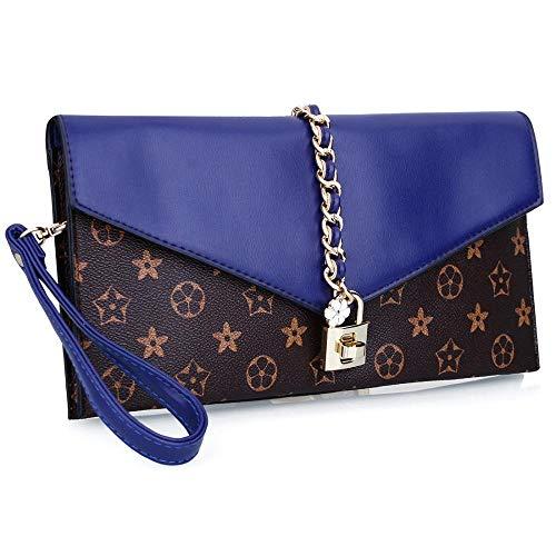Evening With Bag Women Clutch Oversized Lock Designer Blue Wristlet Dreamys Handbag Flower zREawqz